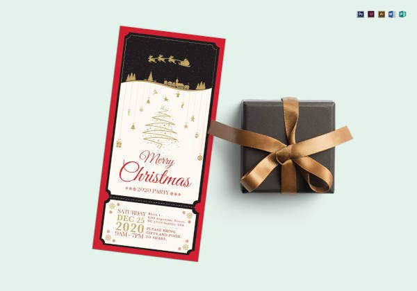 silent merry christmas ticket template