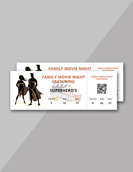 silhouette movie night ticket template