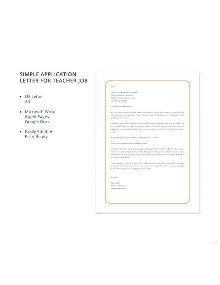 simple application letter for teacher job template