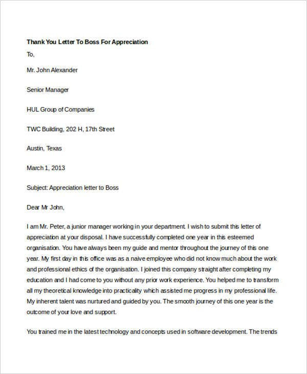 simple appreciation letter to boss