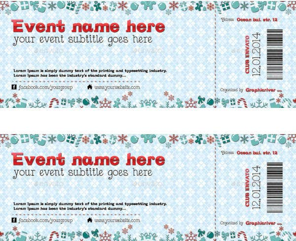 Simple Christmas Event Ticket Template