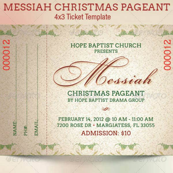 Simple Christmas Ticket Template