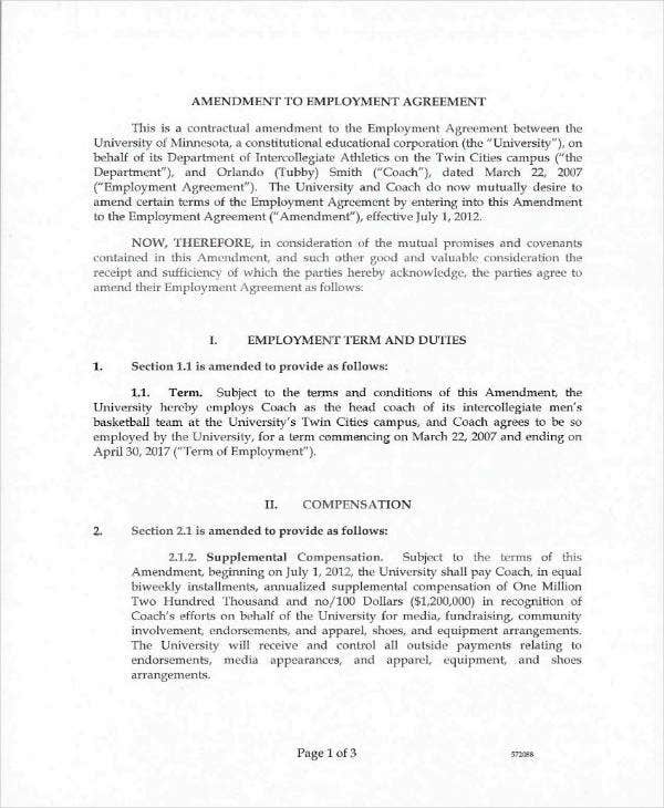 Simple Employee Amendment Contract