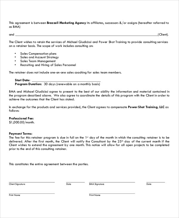 simple marketing consultant contract