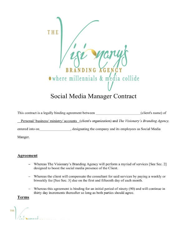 social media manager contract 1