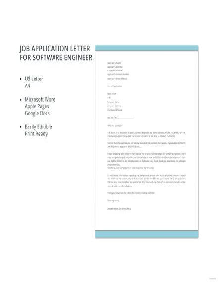 Software Engineer Job Application Letter