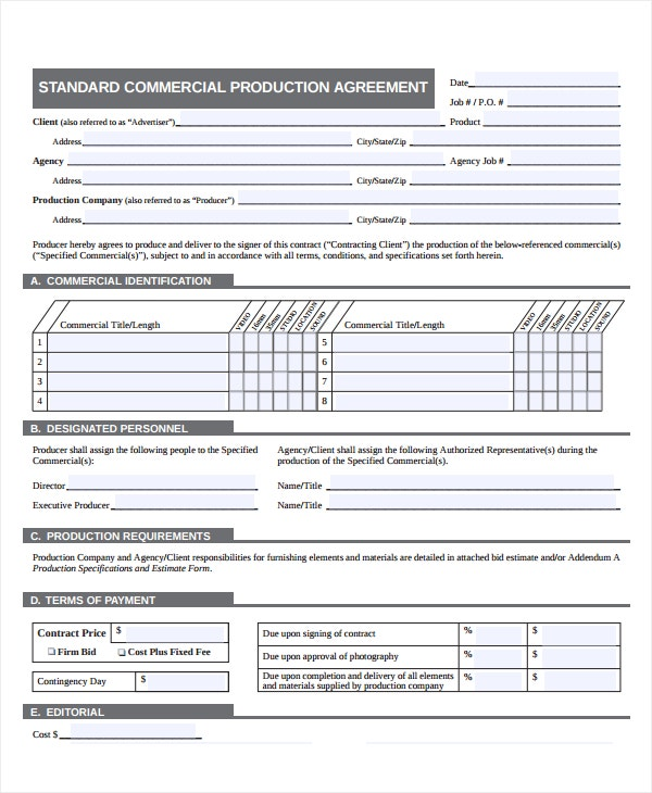 standard production company contract