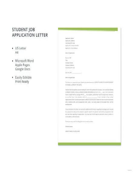 Student Job Application Letter
