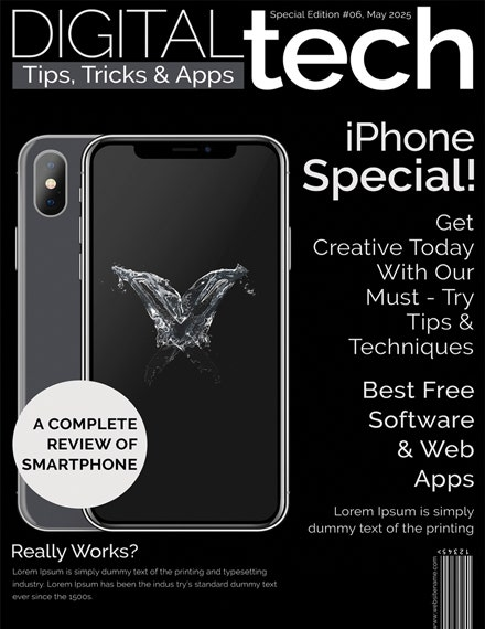 technology magazine cover page template 1x