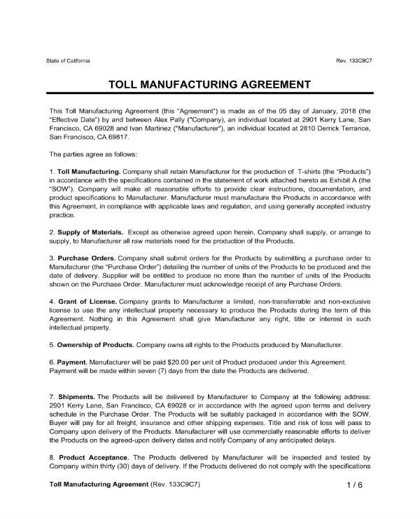 5 Manufacturing Agreement Contracts Pdf Google Docs Apple Pages