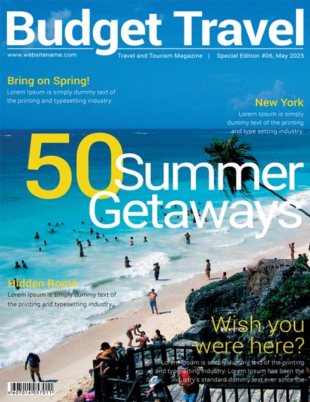 Travel Magazine Cover Template 1X