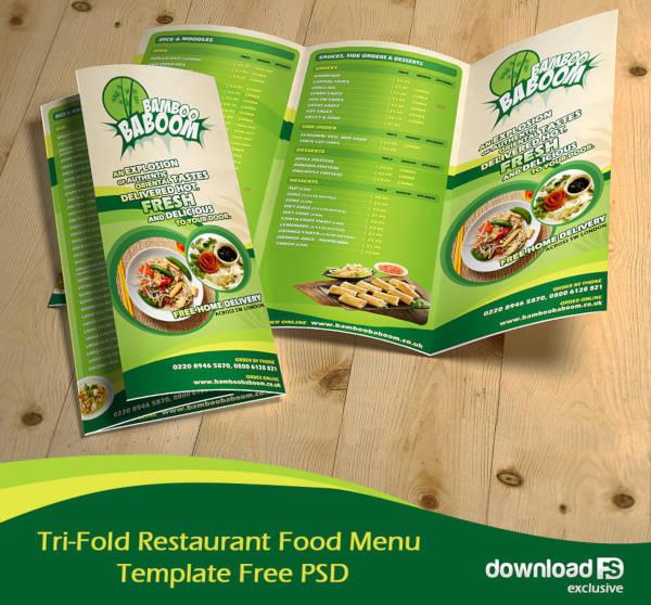 Tri-Fold Restaurant Menu Template