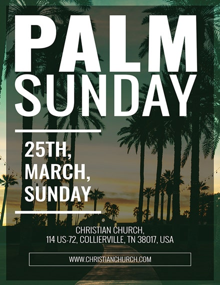 typographic palm sunday poster template