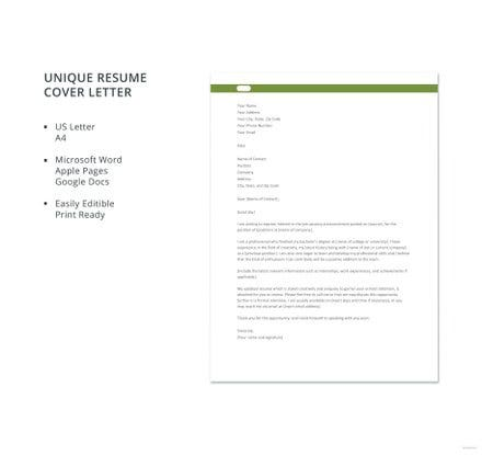 unique resume cover letter template