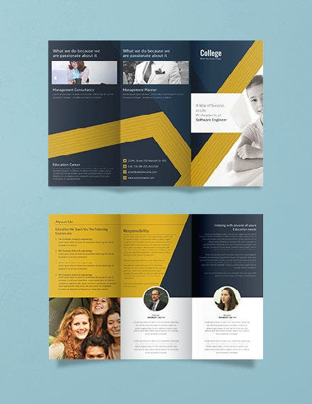 University College Tri Folding Brochure Template 440px