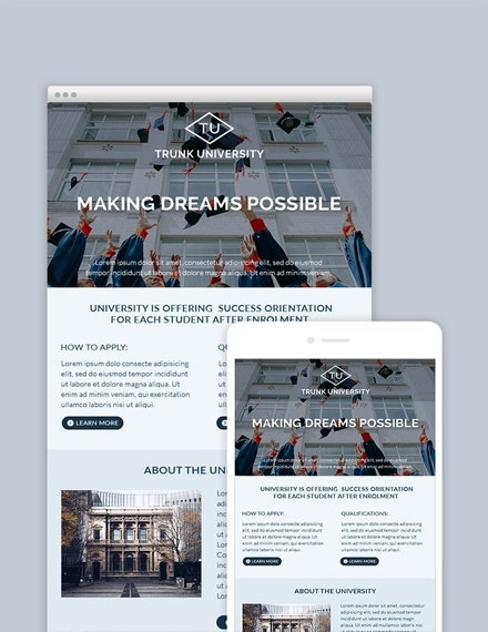 university email newsletter template 1x