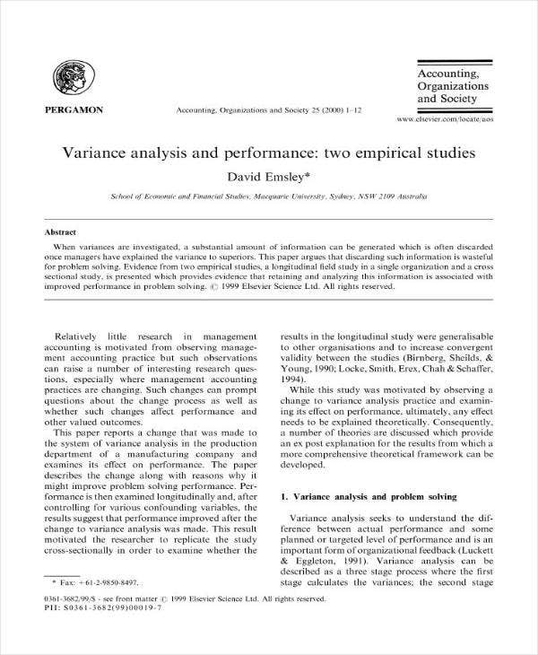 Variance Analysis and Performance