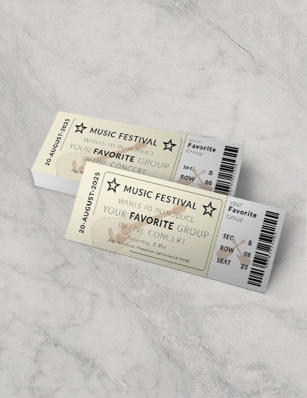 vintage concert event ticket template