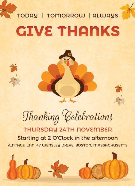 Vintage Thanksgiving Event Invitation Format