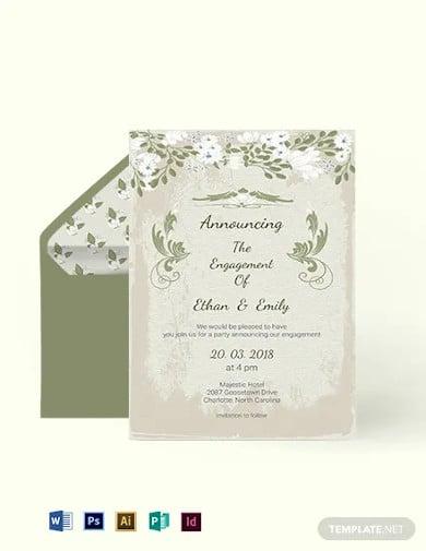 vintage wedding engagement card template