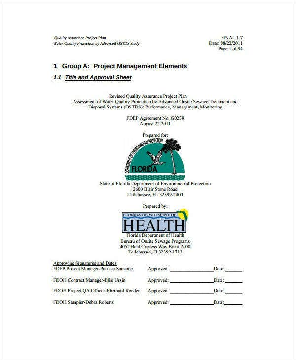 Water Quality Assurance Project Plan Example