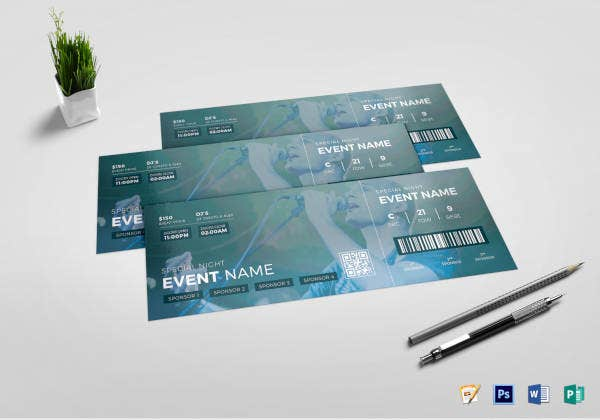 watercolor concert event ticket template