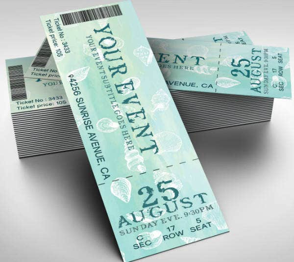 watercolor event ticket example