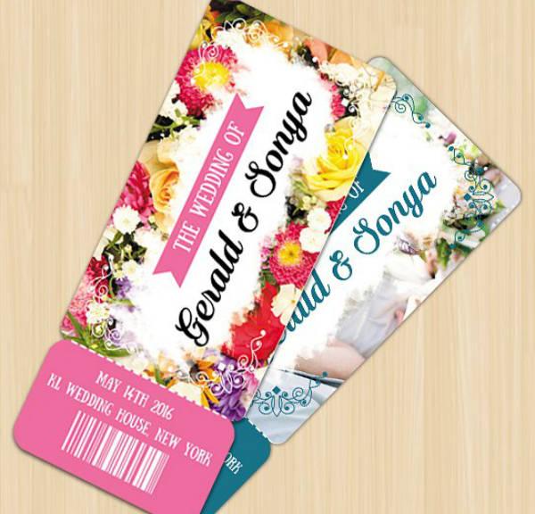 Watercolor Floral Wedding Ticket