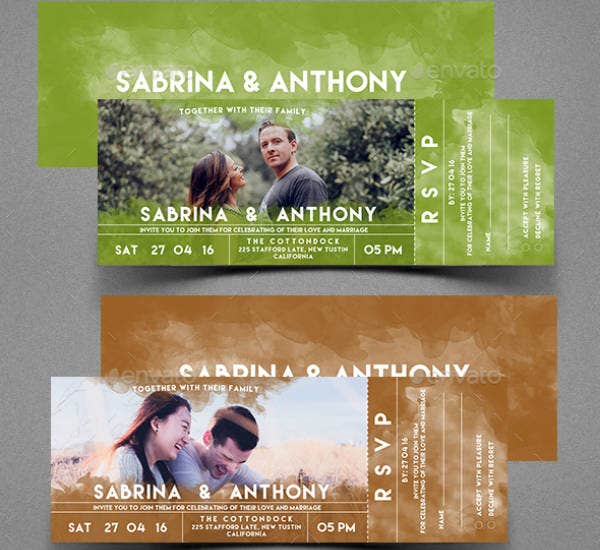 Watercolor Wedding Event Ticket