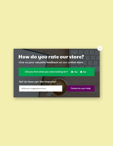 website survey pop up template