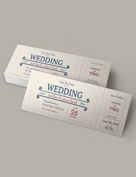 wedding admission ticket template