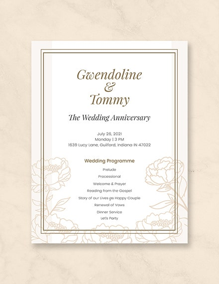 wedding anniversary program template
