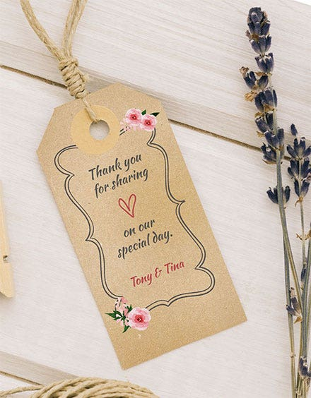 wedding thank you tag template
