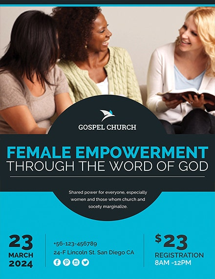 women empowerment church flyer template