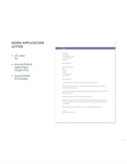 work application letter template