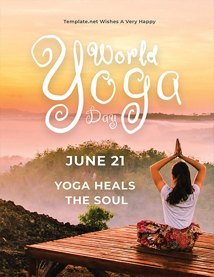 World Yoga Day Greeting Card Template