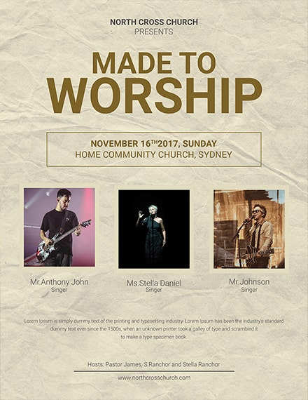 worship community church flyer template