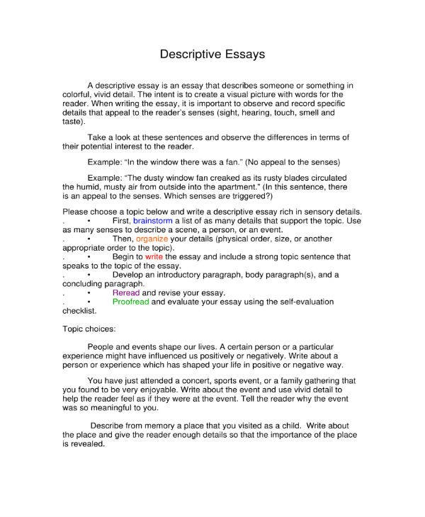descriptive essays 1
