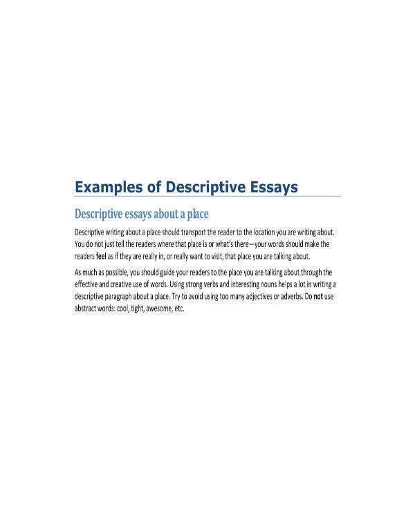 descriptive writing samples 1