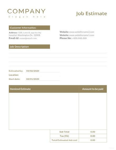job estimate template 1 11 440x622