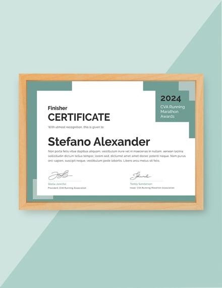 running award certificate M1X