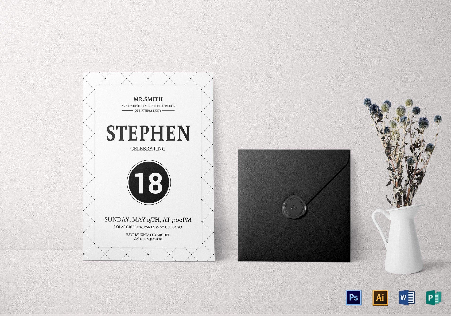 12 18th birthday party invitation templates  psd ai
