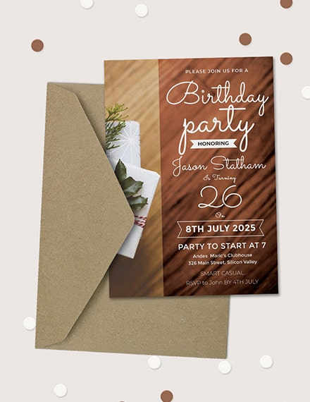 26th birthday party invitation template