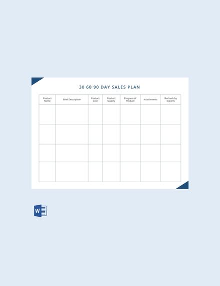 30 60 90 day sales plan sample