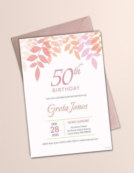50th birthday breakfast invitation template