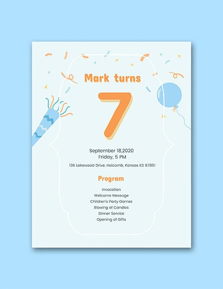 7th birthday program template