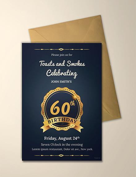 adult 60th birthday invitation template