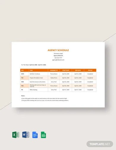 agency schedule template