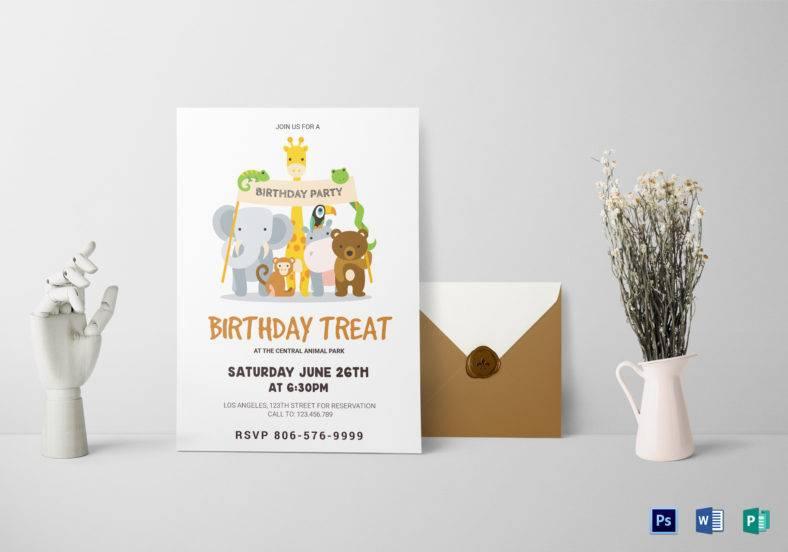 animals birthday invitation card template 788x552