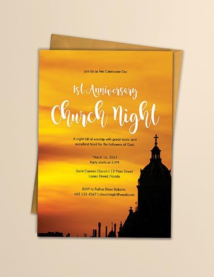 anniversary church night invitation design